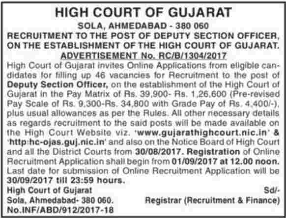 Gujarat High Court Jobs 2017 - Deputy Section Officer Results