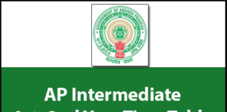 AP Inter 1st Year Time Table 2019