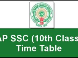 AP 10th/SSC Time Table 2019 Download
