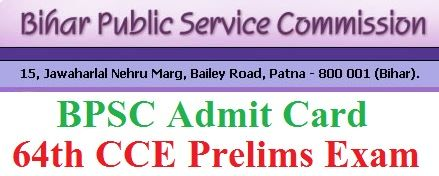 Download BPSC 64th CCE Admit card @ bpsc.bih.nic.in