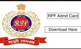 RPF SI Admit Card 2018