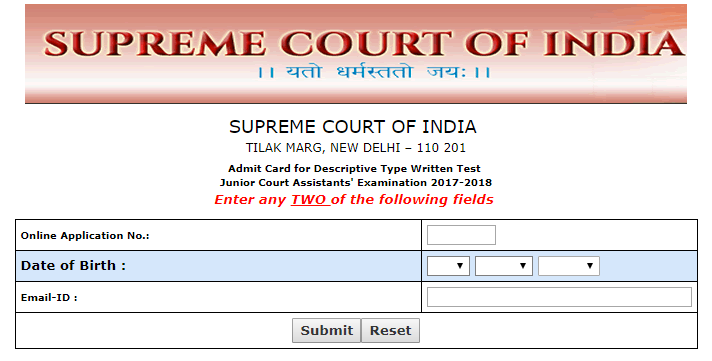 Supreme Court JCA Admit Card 2018