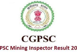 CGPSC Mining Inspector Result 2018