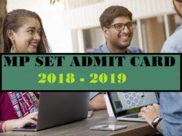 MP SET Admit Card 2019