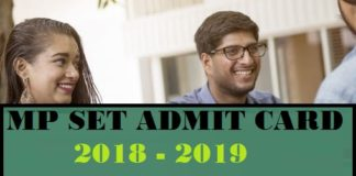 MP SET Admit Card 2019