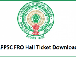 APPSC FRO Hall Ticket