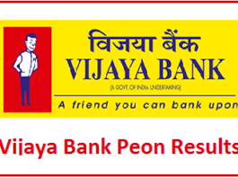 Vijaya Bank Peon Result