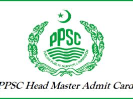 PPSC Head Master Admit Card